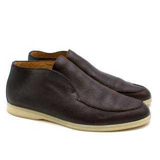 Loro Piana Brown Open Walk Leather Loafers