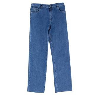 Canali Blue Men's Washed Wide Leg Jeans