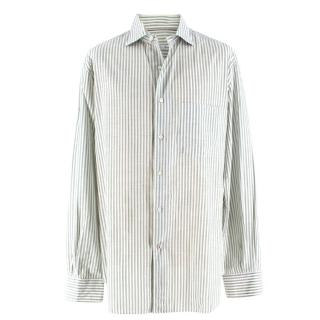 Loro Piana Men's Green & White Striped Cotton Shirt