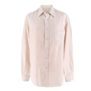 Loro Piana White and Beige Striped Shirt