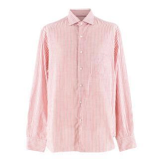 Loro Piana Men's Red & White Striped Cotton Shirt