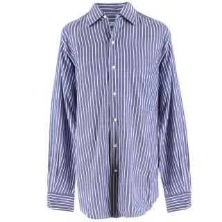 Loro Piana Blue and White Striped Shirt