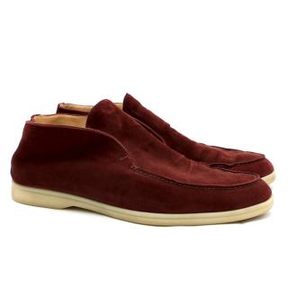Loro Piana Red Open Walk Suede Loafers