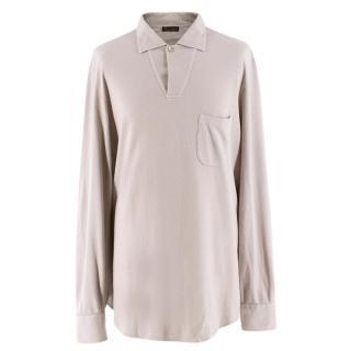 Loro Piana Men's Light Taupe Cotton & Cashmere Polo Shirt