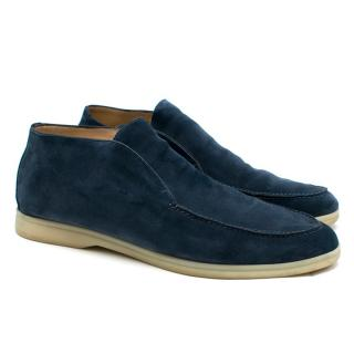 Loro Piana Blue Open Walk Suede Ankle Boot