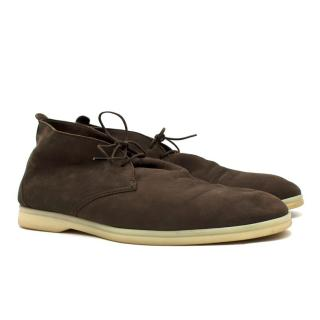 Loro Piana Deep Brown Softie Walk Loafers
