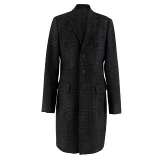 Givenchy Men's Tweed Print Single Breasted Wool Coat
