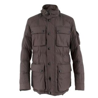 Belstaff Men's Dark Slate Grey Down Coated Jacket