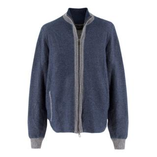 Loro Piana Men's Cashmere Ruffle Knit Casual Bomber