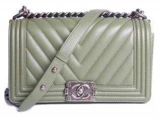 Chanel medium olive green chevron boy bag