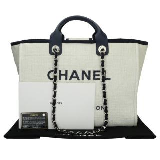 8c0b30f7edf6 Chanel Canvas Deauville Tote W  Navy Trim
