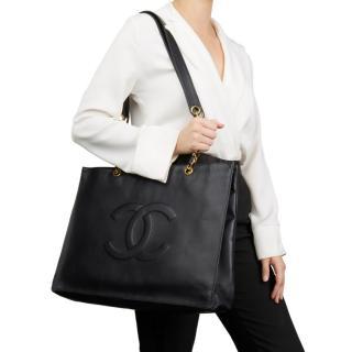 Chanel Vintage Black Lambskin XL Shopping Tote
