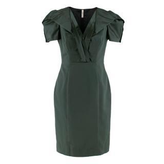 Prada Green Duchess-Satin Dress