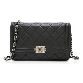 Chanel Black Lambskin Boy Wallet On Chain