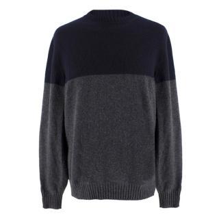 Brunello Cucinelli Men's Navy & Grey Cashmere Sweater