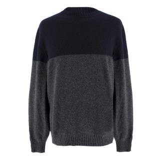 Brunello Cucinelli Men's Navy & Grey Cashmere Sweater