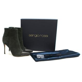 Sergio Rossi Dark Green Suede Ankle Boots