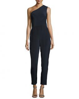 Monique Lhuillier One-Shoulder Silk Jumpsuit