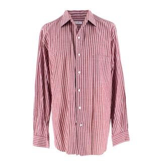 Loro Piana Burgundy & White Striped Shirt