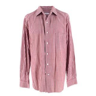 Loro Piana Burgundy & White Striped Shirt