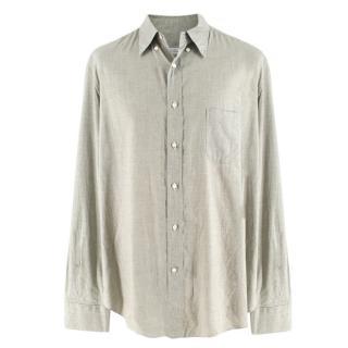 Loro Piana Men's Green & White Houndstooth Check Shirt