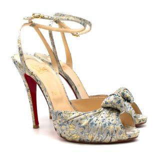 Christian Louboutin Blue Brocade Knot Strap Sandals