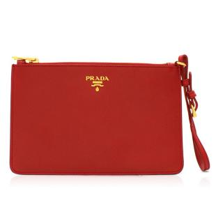 Prada Red Leather Pouch