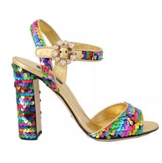 Dolce & Gabbana Block Heeled Sequin Sandals
