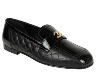 Chanel Patent Calfskin & Lambskin Black Loafers