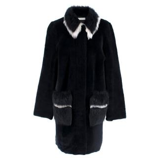 Ines & Marechal Navy Shearling Coat