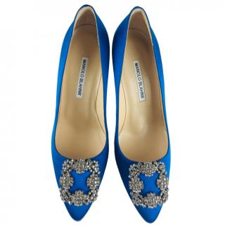 Manolo Blank Blue Satin Hangisi Pumps