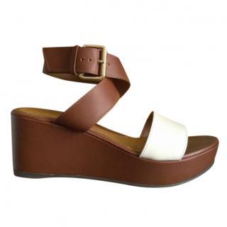 Fendi Bi-Colour Wedge Leather Sandals