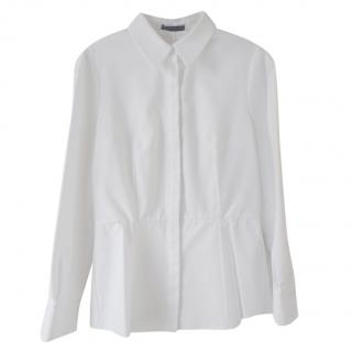 Alexander McQueen White Pleated Peplum Blouse