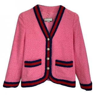 Gucci pink cotton blend jacket with web trim and pearl buttons