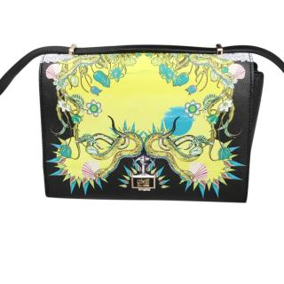 Cavalli Class Black & Yellow Floral Print Crossbody Bag