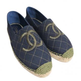 Chanel quilted navy canvas espadrilles