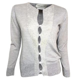 Dries Van Noten grey sequin embellished knit cardigan