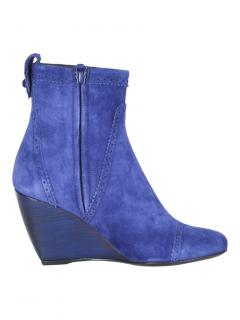 Balenciaga Blue Suede Wedge Ankle Boots
