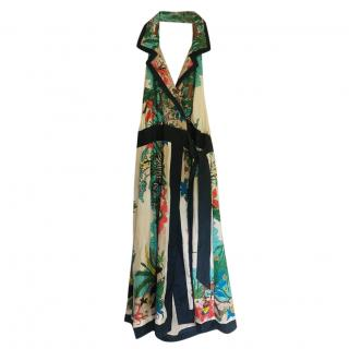 Tibi Printed SIlk Halterneck Dress