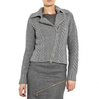 McQ Grey Cable Knit Biker Jacket