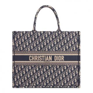Dior Oblique Blue Canvas Book Bag