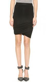T by Alexander Wang Black Draped Drawstring Skirt