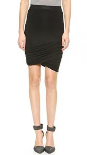 T by Alexander Wang Black Draped Drawstring Skirt