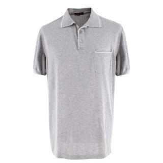 Loro Piana Men's Grey Cotton Polo Shirt