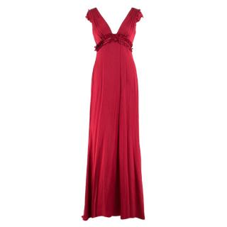 Vera Wang Red V-neck Silk Gown