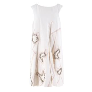 Chloe White Embellished Silk Dress