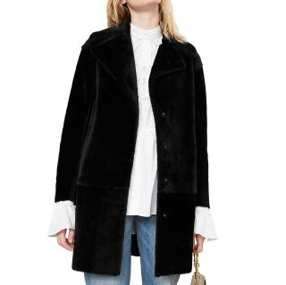 Claudie Pierlot Black Fancy Shearling Coat