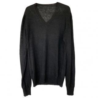 Dolce & Gabbana Men's Black Sheer V-Neck Top