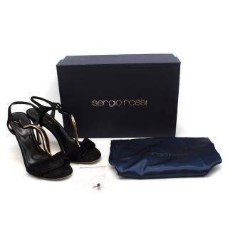 Sergio Rossi Black Embellished Sandals