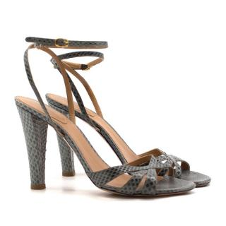 Chloe Grey Snakeskin Embossed Sandals